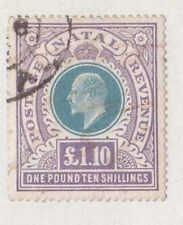 SOUTH AFRICA, NATAL, 1902 K EDV11 £1 10/- SG 143, FISCALLY USED, FORGED POSTMARK