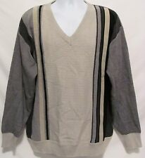 Tuscan Made Italy Mens XL Wool Blend Khaki Gray Black Sweater V-Neck Pullover