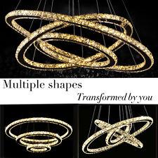 Modern Crystal 3 Rings Pendant Light Circle Ceiling Lamp Chandelier LED LOT MY