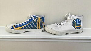 Golden State Warriors Sneakers Basketball Shoes Men's Size 10, White/Blue/Yellow