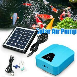 2L/min Solar Power USB Fish Tank Aquarium Oxygen Fish Air Pump Pond Aerator
