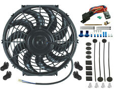 """12"""" INCH ELECTRIC COOLING FAN 12 VOLT PUSH-IN RADIATOR FIN PROBE THERMOSTAT KIT"""