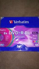 Verbatim DVD+R DL AZO 8.5GB 8x-10x Branded Double Layer Recordable 5 Pack NIB