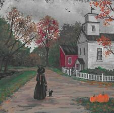 4X4 PRINT OF PAINTING RYTA HALLOWEEN WITCH SLEEPY HOLLOW LANDSCAPE BLACK CAT PET