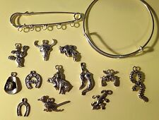 "Customizable Kilt Pin Brooch 5 Silver Charms ""OUT WEST"" Cowboy, Hat, Gun, Pepper"