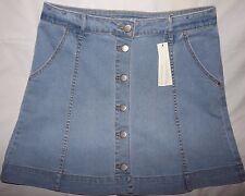 Lauren Conrad Ladies Denim Skirt Sz 12 Light Wash Button Front Gored A-Line NWT
