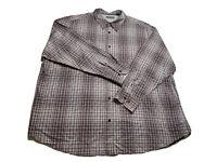 🔥 Cubavera Men's 3XL Shirt Purple Gray White Plaid Button Long Sleeve Cotton
