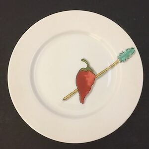 "Crate & Barrel Tidbits Pepper Appetizer Plate 6.5"" by Nancy Green"