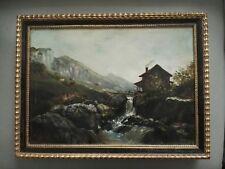 Paysage de montagne au torrent  huile sur toile peinture tableau Laforêt