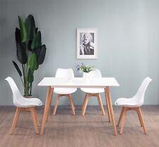 4 × Sedie in legno Soggiorno Sala da pranzo Sedie da ufficio con cuscino Bianco
