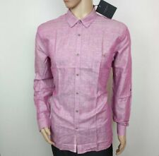 84487f71ee7b Ted Baker Mens Shirt Pink Linen Blend Hidden Oxford Size 7 UK XXXL