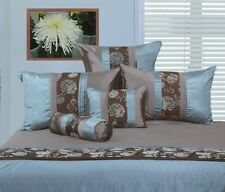 New PHASE 2 TEAL Blue Chocolate Brown Flocked KING Quilt Doona Duvet Cover Set