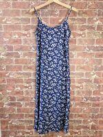VTG 90s Floral Maxi Dress sz 7 Summer Linen Blend Sleeveless Flowy Boho Festival
