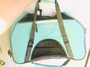 Pet Carrier Soft Sided Small Cat Dog Comfort Aqua Travel Bag FAA Approved