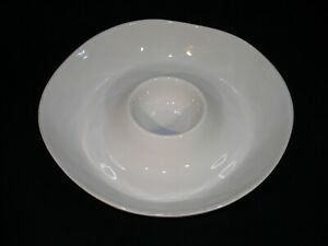"""White Ceramic Chip n Dip Server from Crate & Barrel...13 1/2"""" Wide w/Bowl"""