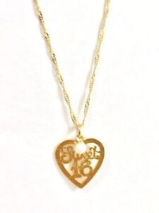 14k Gold Filled Sweet 16 Years Heart with pearl  necklace Pendant