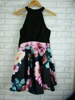 Dotti Dress Sleeveless Black, pink, green floral print Sz 12