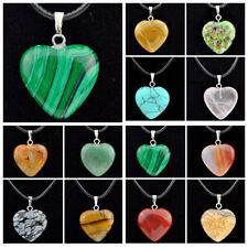 wholesale 12 pcs heart-shaped natural stone Crystal Gemstone pendant necklace
