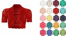 Women Crochet Cropped Knitted Ladies Short Sleeve Bolero Shrug Cardigan