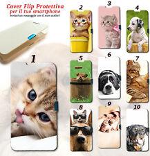 CUSTODIA COVER FLIP MAGNETICA A LIBRO CANE GATTO CAT ANIMAL PER IPHONE 6 PLUS