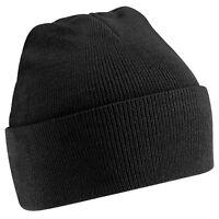 Beanie Hat Mens Black Knit Ski Cap Warm Plain Casual New Womens Winter Thermal