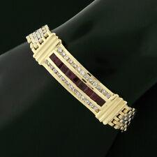 Vintage Men's 14k Gold Channel Set 2.58ctw Diamond Square Ruby ID Link Bracelet