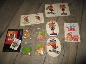 Bonux-Réunion de collectors publicitaires-mini jouets a monter,autocollant...