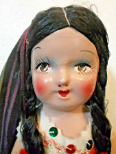 "Vintage Mexican Folk Girl Doll Estate Collection 13"" Jointed Composition Lovely"