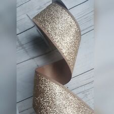 Wired Champagne Gold Glitter Christmas Ribbon. Cake Xmas Tree Wreath Bow