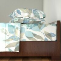 Botanical Watercolor Foliage 100% Cotton Sateen Sheet Set by Roostery