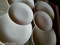 6 RARE CRATE & BARREL WHITE RADIO DINNER SALAD  PLATES PLATE STAFFORD  ENGLAND