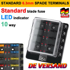 12V/24V KFZ Auto Boot Sicherungsdose Sicherungskasten 10-fach ATO ATC DE