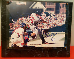 MARK McGWIRE AUTOGRAPHED SIGNED 8x10 PHOTO ON 10x13  MARBLE LOOKING PLAQUE & COA