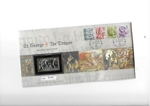 GB 2001 10/- St George & the Dragon 24 Gms Solid Silver Ingot on Cover
