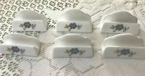 Vintage 6 China Placecard Holders - Blue Flowers - Countess China, England