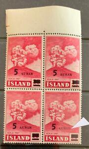D7/6 Iceland 1954 Sc# 283 Hekla volcano Brocken R Error OVPT Block 4 MNHOG XF