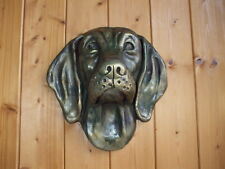 More details for large bronzed stone weimaraner  dog  dogs head   wall  sculpture
