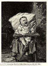 Antique print crying baby child dinner time 1887 A. Müller-Schönhausen holzstich