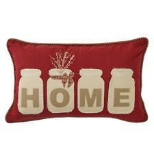 "MASON JAR PILLOW : COUNTRY RED HOME 12 x 20"" FILLED ACCENT TOSS CUSHION"