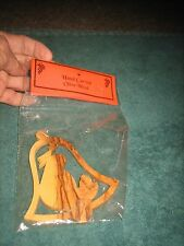HOLY LAND PRODUCT HAND CARVED OLIVE WOOD CHRISTMAS ORNAMENT NATIVITY BELL (NEW)