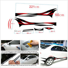 2 Pcs Sports Racing Car Body Side Stripe Decal Flame Vinyl Sticker Left Right