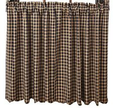 Primitive Country Navy Check Lined Tier Curtains 72WX36L Cotton Check Size 1/2""