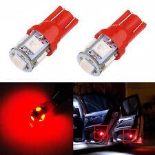 JDM ASTAR 2x T10 Pure Red  5050 5-SMD LED Lights Bulbs 194 168 175 W5W 2825 192