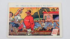1950s Saucy Vintage Funny Postcard Womens Amateur Rowing Club Blonde Big Boobs