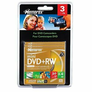 Blank Mini DVD+RW Discs for DVD Camcorder (3 Pack, 1.4 GB, 8 cm ea) Scratch