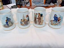 4 Vintage 1985 Norman Rockwell Mugs With Gold Trim