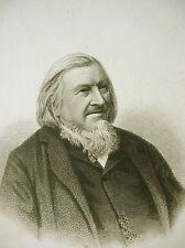 Hoffmann von Fallersleben poet Steel Engraving 1850 wrote German National Anthem