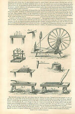 Le Chanvre Crins La Sarthe la Quenouille Fileuse Le Rouet GRAVURE OLD PRINT 1864