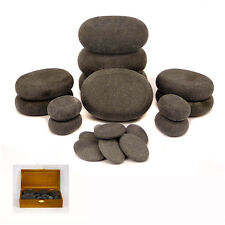MassageMaster HOT STONE MASSAGE SET: 20 Basalt Stones in Wood Box