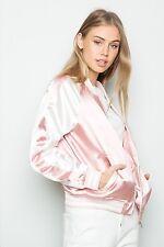 Last One!  melville pink/white silky satin ELLIE BOMBER JACKET S/M
